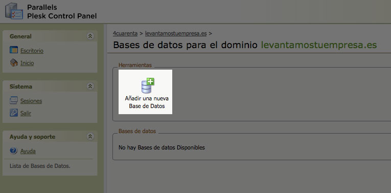 hosting alta base de datos